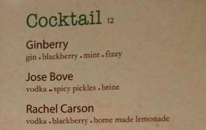 """Bareburger propose un coktail """"José Bové"""" : vodka, cornichon piquant et saumure ! Beurk !"""